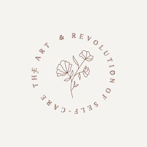 Beige Flower Superminimalism Curved Text Logo